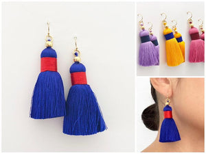 Colorful Tassel Earrings | 14k Gold