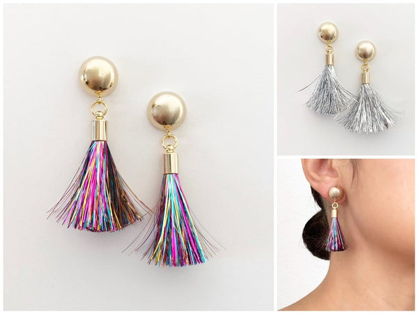 Tinsel Tassel Earrings | 16k Gold