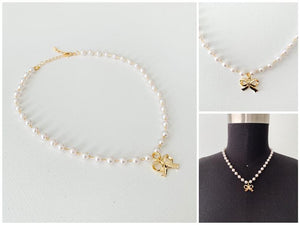 Pearls and Bow Necklace