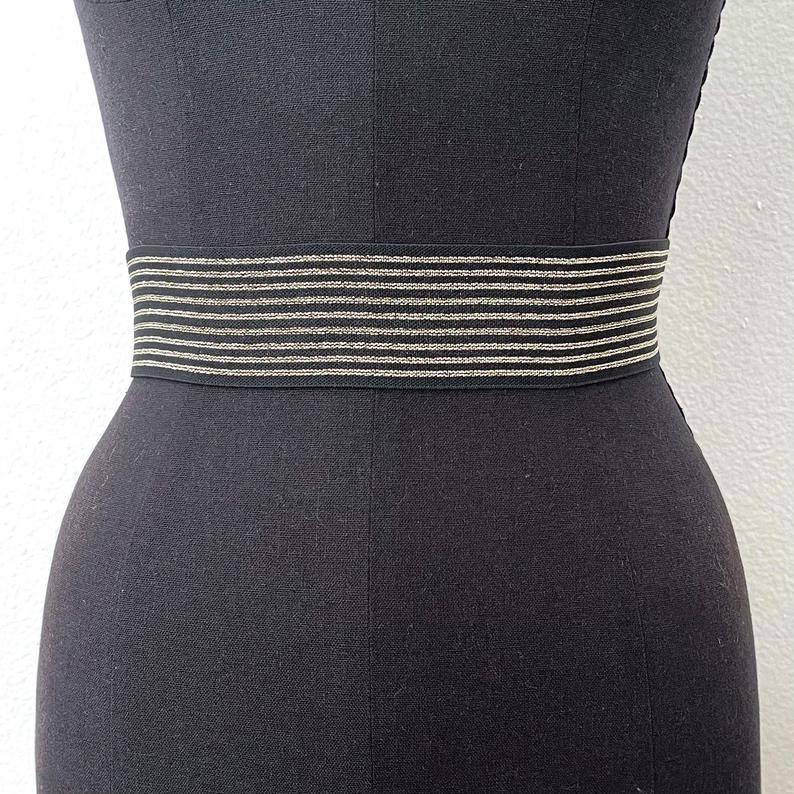 Metallic Striped Elastic Belt