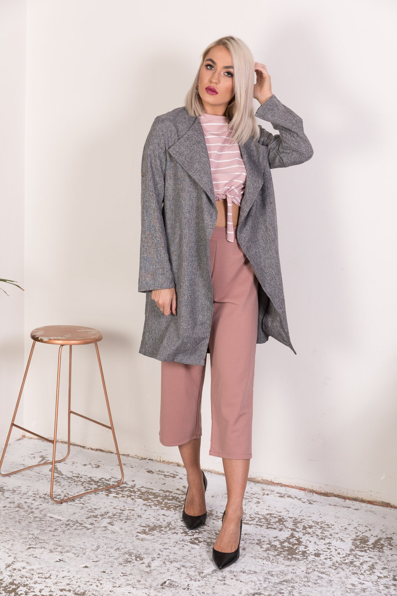 CARLA MARLE WATERFALL DRAPE DUSTER COAT