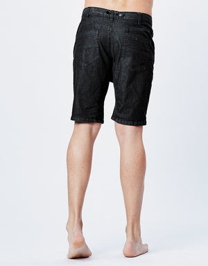 DROPCROTCH CHINO SHORTS - Black Denim