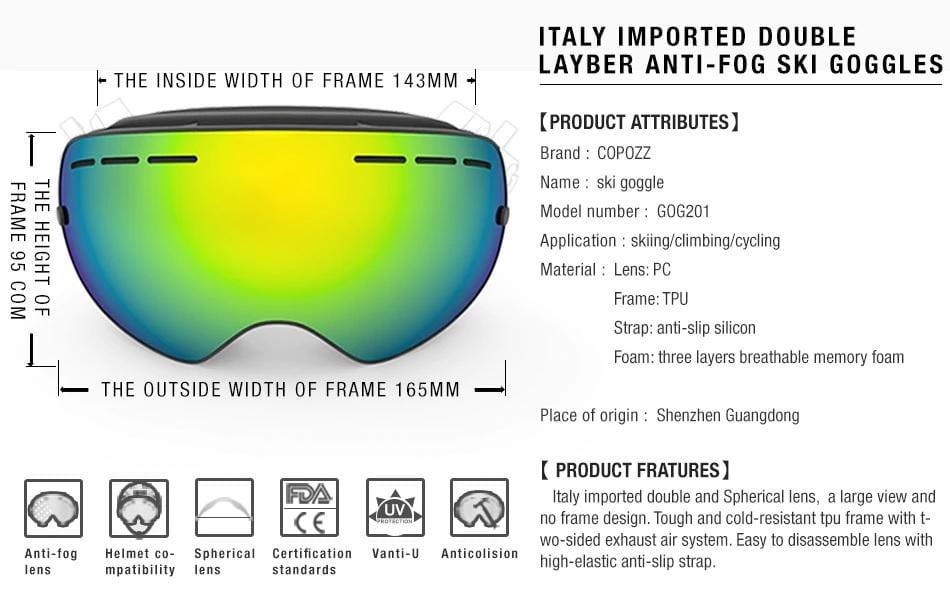 0422a0e16ee9 ... COPOZZ brand ski goggles double layers UV400