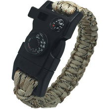 15in1  Men Survival Rescue Paracord Parachute Cord Wristbands Emergency Rope Survival Kits Flint Scraper Whistle Buckle Outdoor Camping