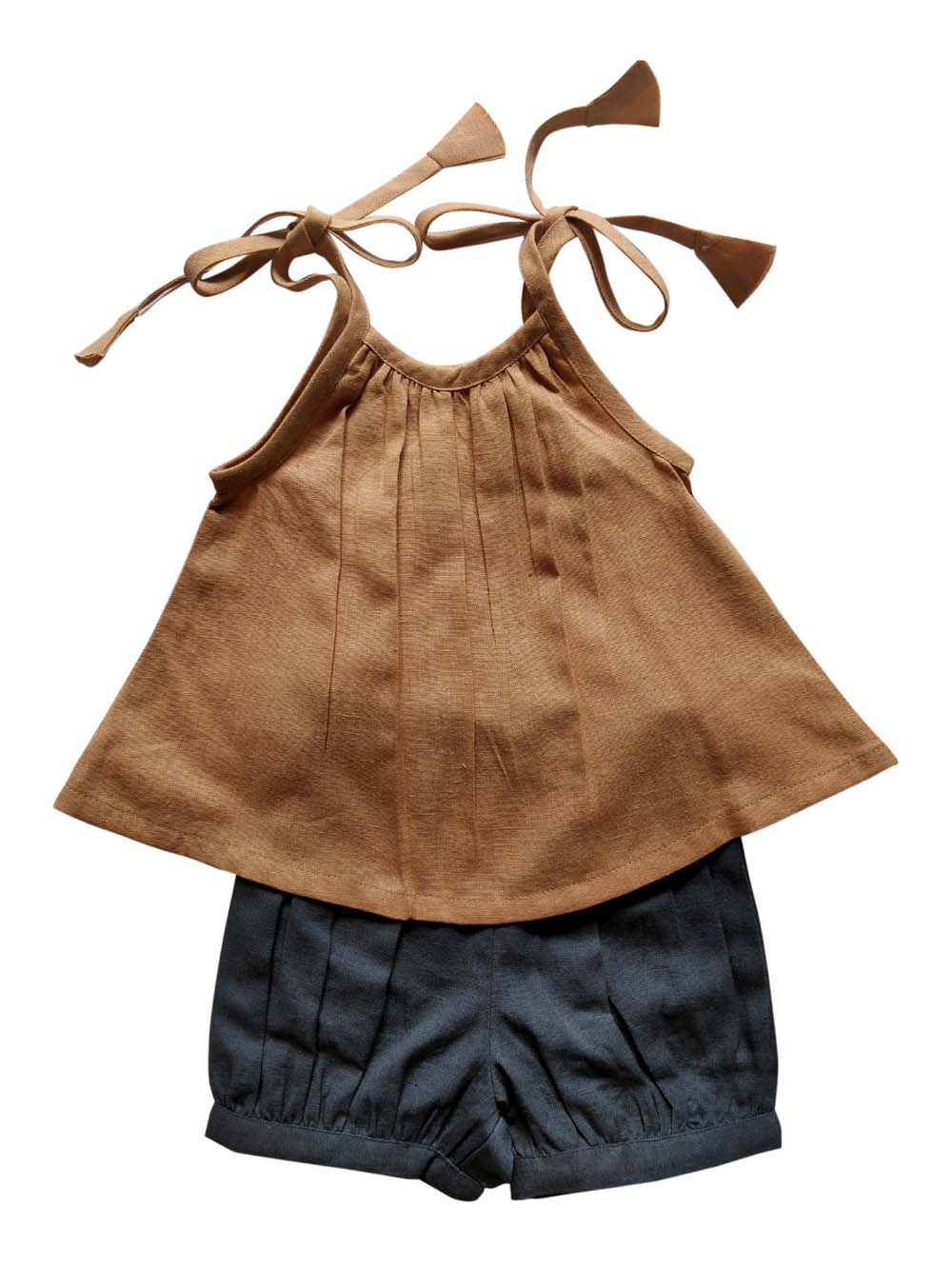 Ochre Tie-Top & Grey Diaper Cover 2pc.set
