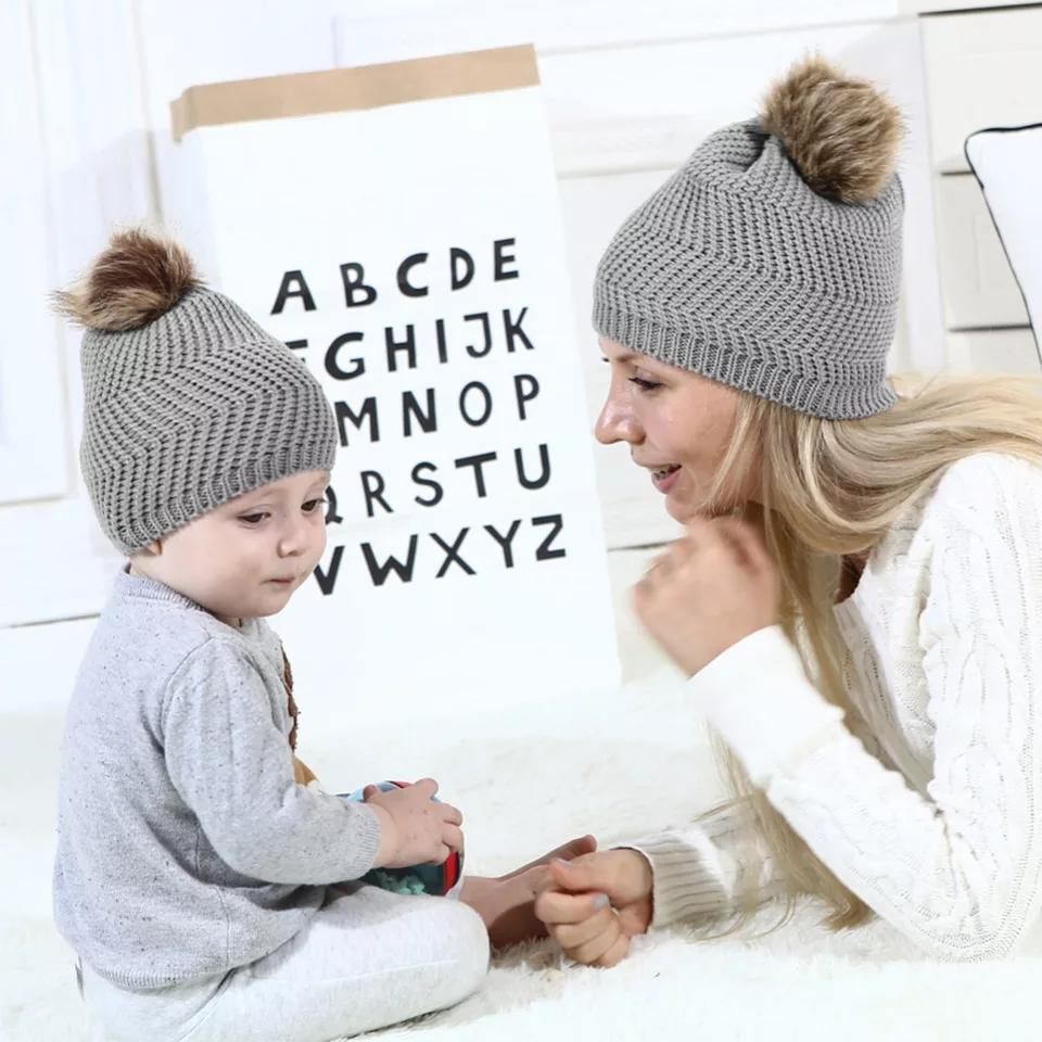 Mommy & Me Wool & Faux Fur Beanie - Set of 2