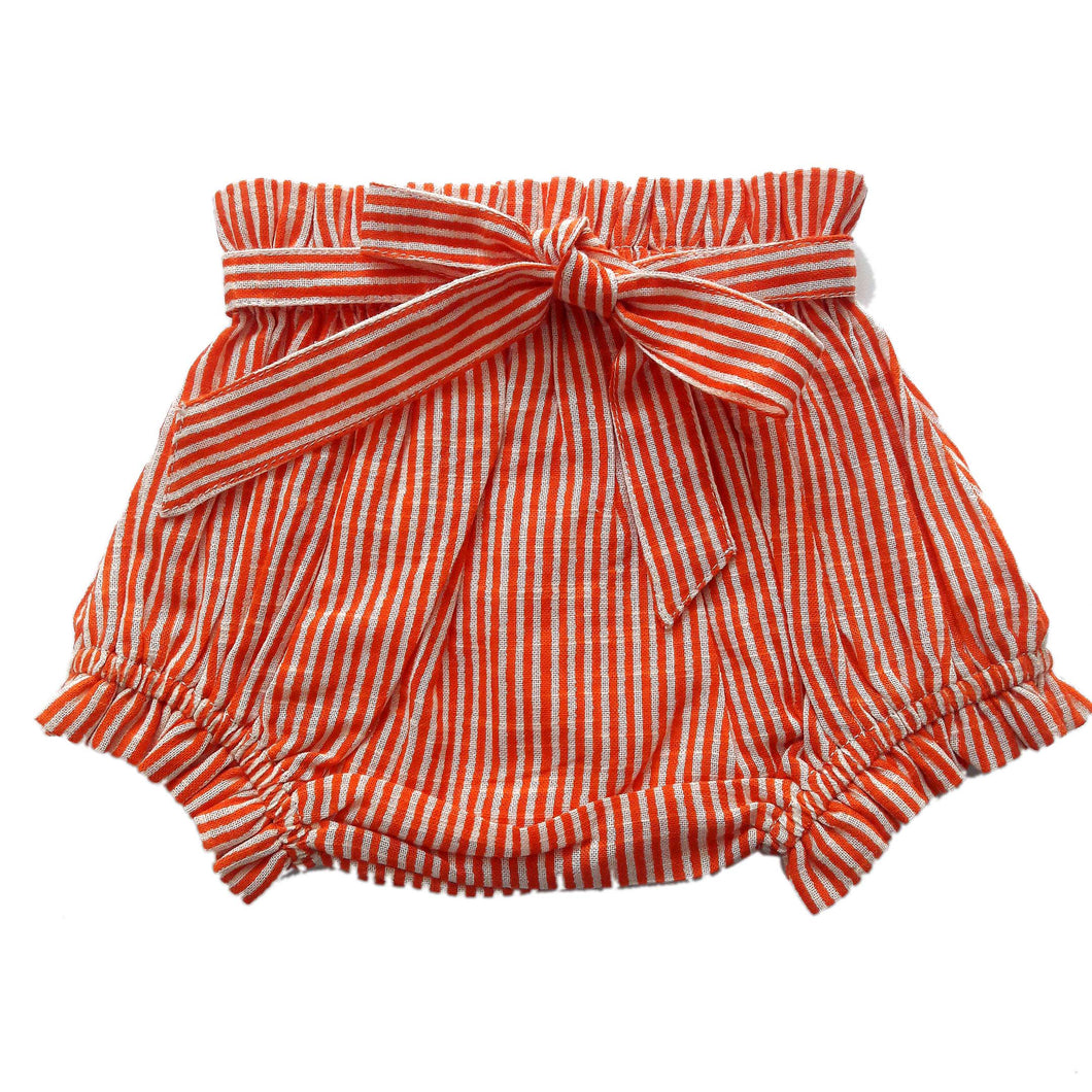 Orange Striped Shorts-Style Diaper Cover