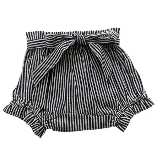 Navy Striped Shorts-Style Diaper Cover
