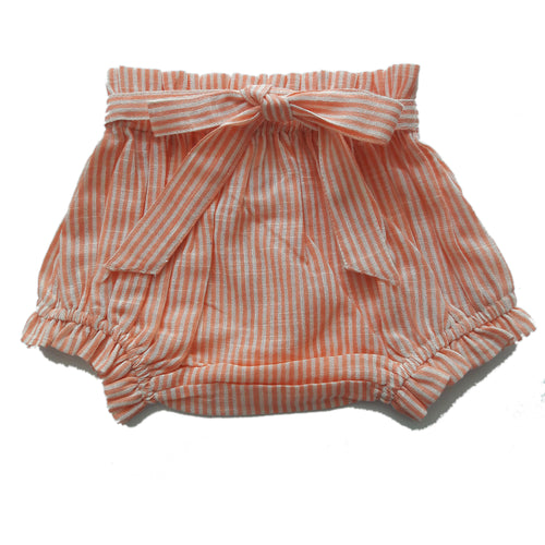 Coral Striped Shorts-Style Diaper Cover