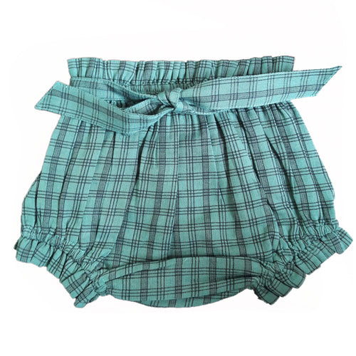 Green Gingham Shorts-Style Diaper Cover