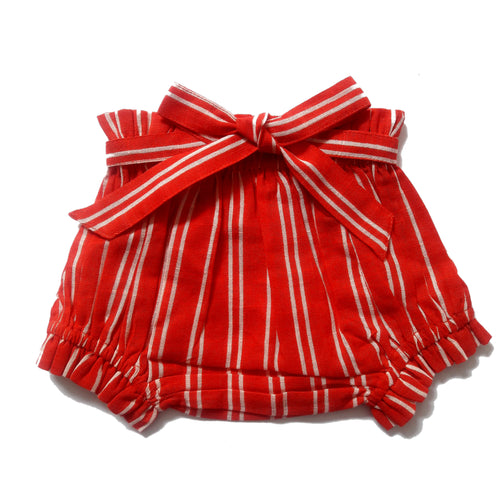Red & White Stripe Shorts-Style Diaper Cover