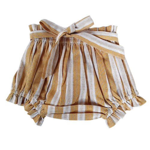 Mustard & White Stripe Shorts-Style Diaper Cover dc192 yobaby