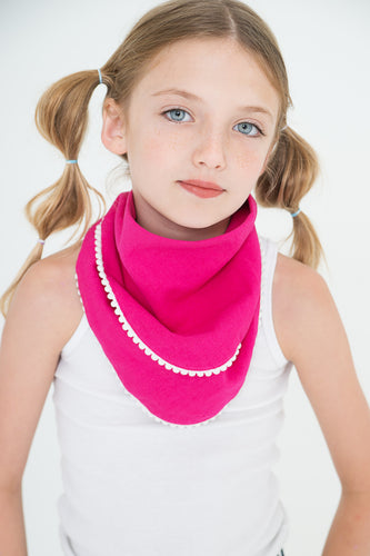 Set of 3 Pom-Pom Lace Scarf/Bib - Kids Wholesale Boutique Clothing,  - Girls Dresses, Yo Baby Wholesale - Yo Baby
