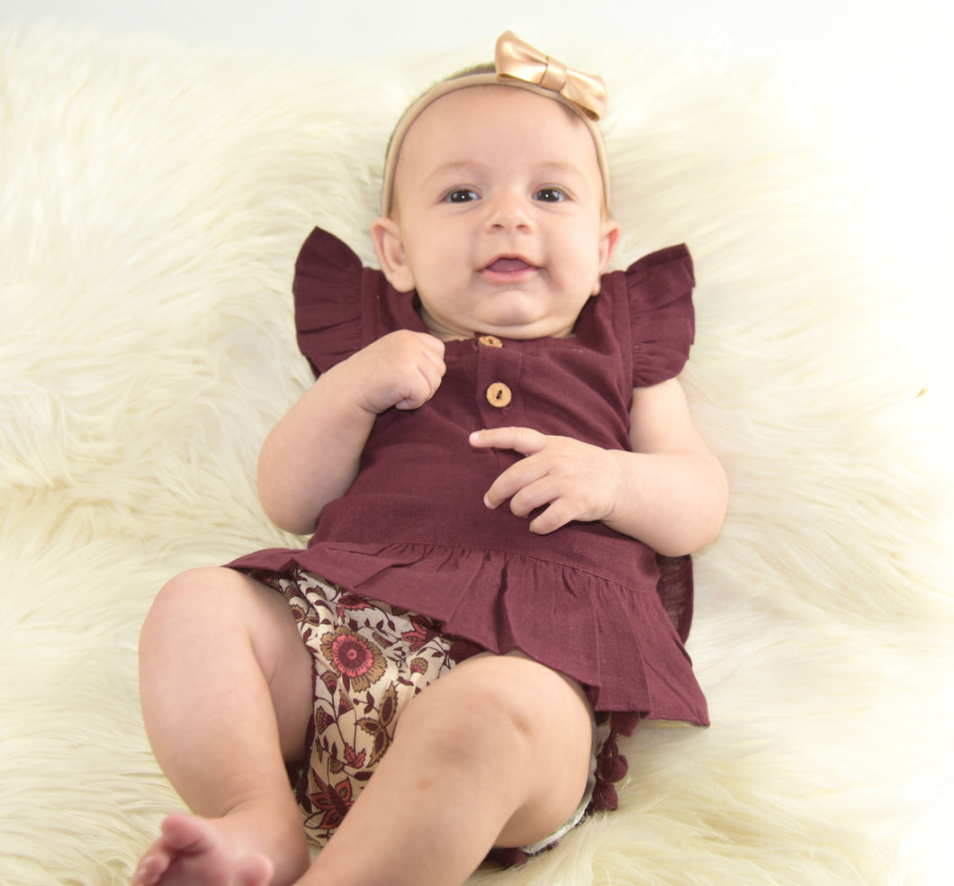 Maroon Angel Top & Pom-Pom Lace Diaper Cover - Kids Wholesale Boutique Clothing, Dress - Girls Dresses, Yo Baby Wholesale - Yo Baby