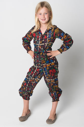 Abstract Animals Jumpsuit - Kids Wholesale Boutique Clothing, Jump Suit - Girls Dresses, Yo Baby Wholesale - Yo Baby