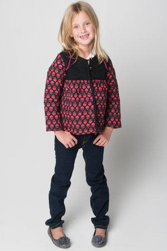 Pink & Black Floral Print Quilted Jacket With Net & lace Details - Kids Wholesale Boutique Clothing, Jacket - Girls Dresses, Yo Baby Wholesale - Yo Baby