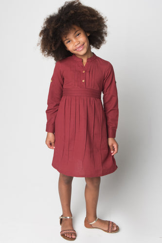 Maroon Pleated Notch Dress with Belt and Button Closure - Kids Wholesale Boutique Clothing, Shirt-Dress - Girls Dresses, Yo Baby Wholesale - Yo Baby