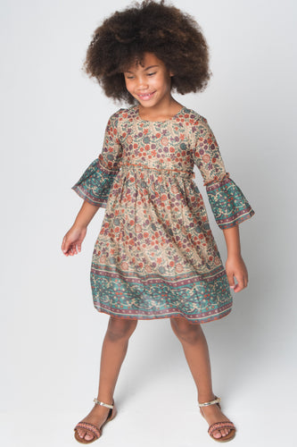 Orange & Brown Floral Bell-Sleeve A-Line Dress - Kids Wholesale Boutique Clothing, Dress - Girls Dresses, Yo Baby Wholesale - Yo Baby