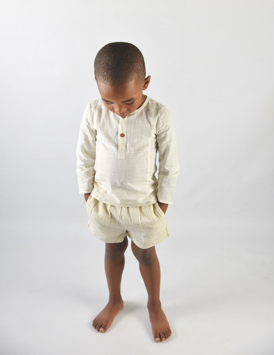 Boys Shirt & Shorts Set - Ivory - Kids Wholesale Boutique Clothing, Boys - Girls Dresses, Yo Baby Wholesale - Yo Baby