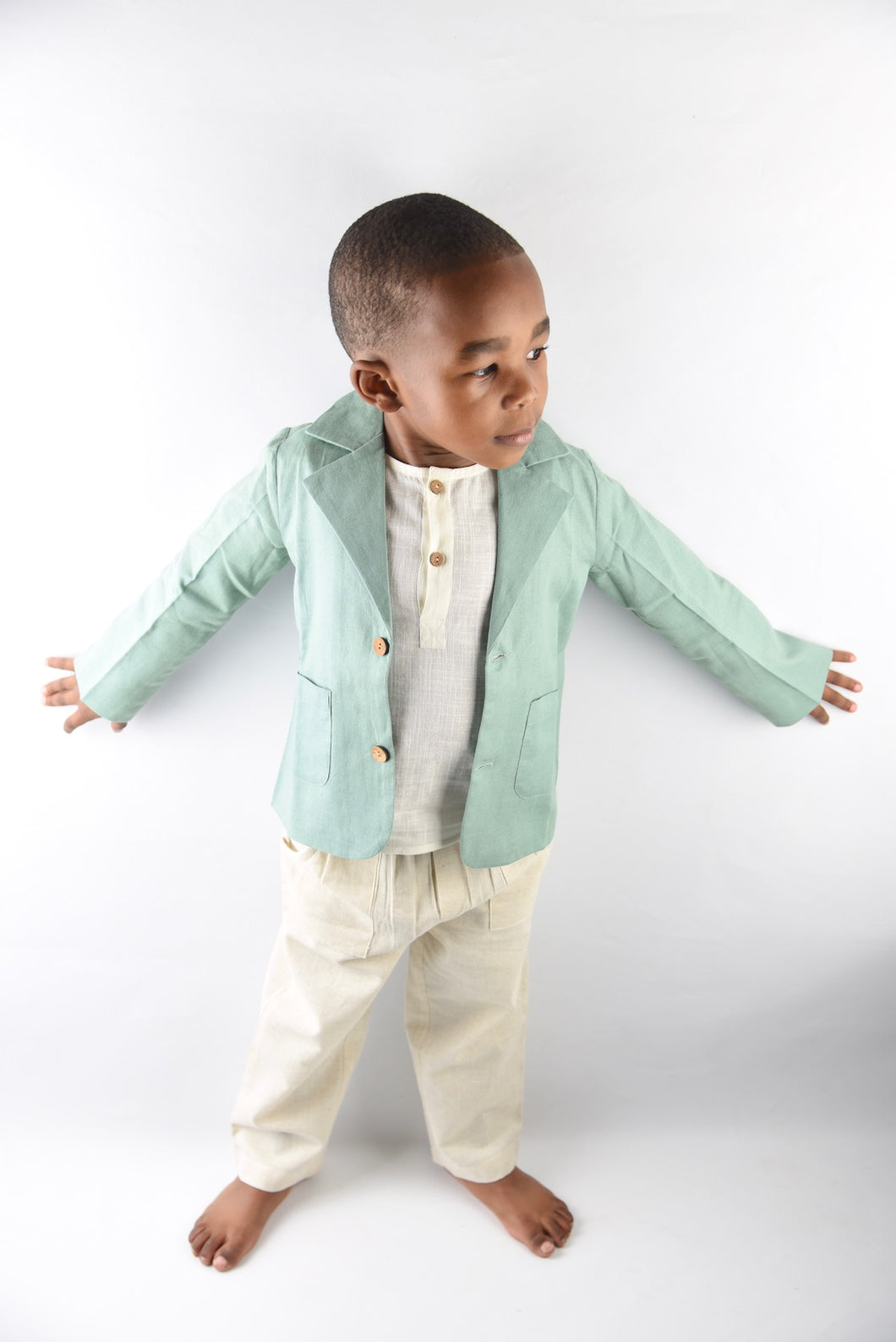 Boys Blazer & Pants Set - Mint/Ivory - Kids Wholesale Boutique Clothing, Boys - Girls Dresses, Yo Baby Wholesale - Yo Baby