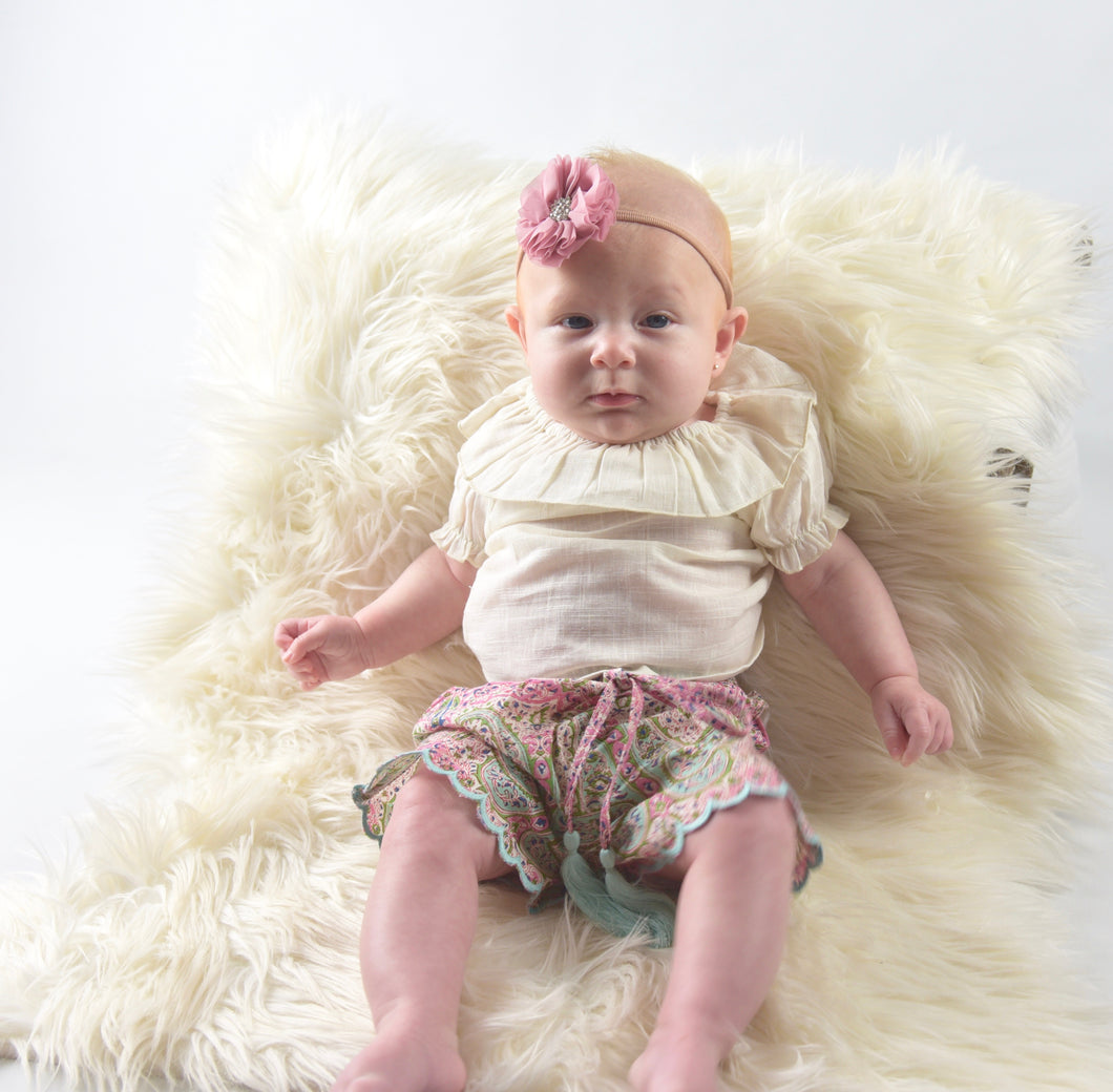 Ivory Ruffle Neck Top & Scalped Diaper Cover Set - Kids Wholesale Boutique Clothing, Dress - Girls Dresses, Yo Baby Wholesale - Yo Baby