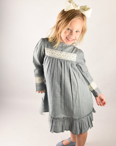 Steel Grey Lace Dress - Kids Wholesale Boutique Clothing, Dress - Girls Dresses, Yo Baby Wholesale - Yo Baby