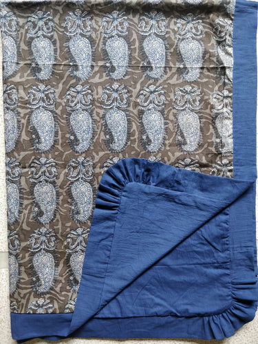 Grey Paisley Blanket with Blue Trim - Kids Wholesale Boutique Clothing, Blanket - Girls Dresses, Yo Baby Wholesale - Yo Baby