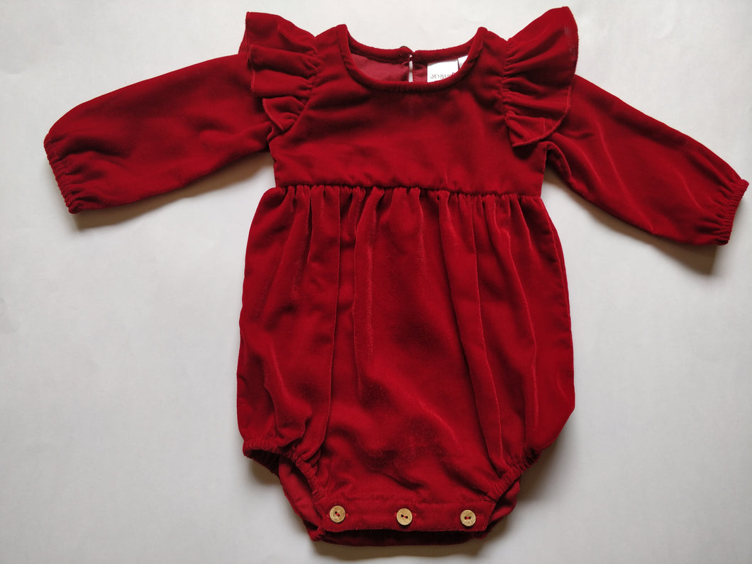 Red Velvet Angel Winged Full Sleeves Romper - Kids Wholesale Boutique Clothing, Dress - Girls Dresses, Yo Baby Wholesale - Yo Baby