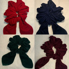 Cotton Velvet Bow Hair Scrunchy - set of 5