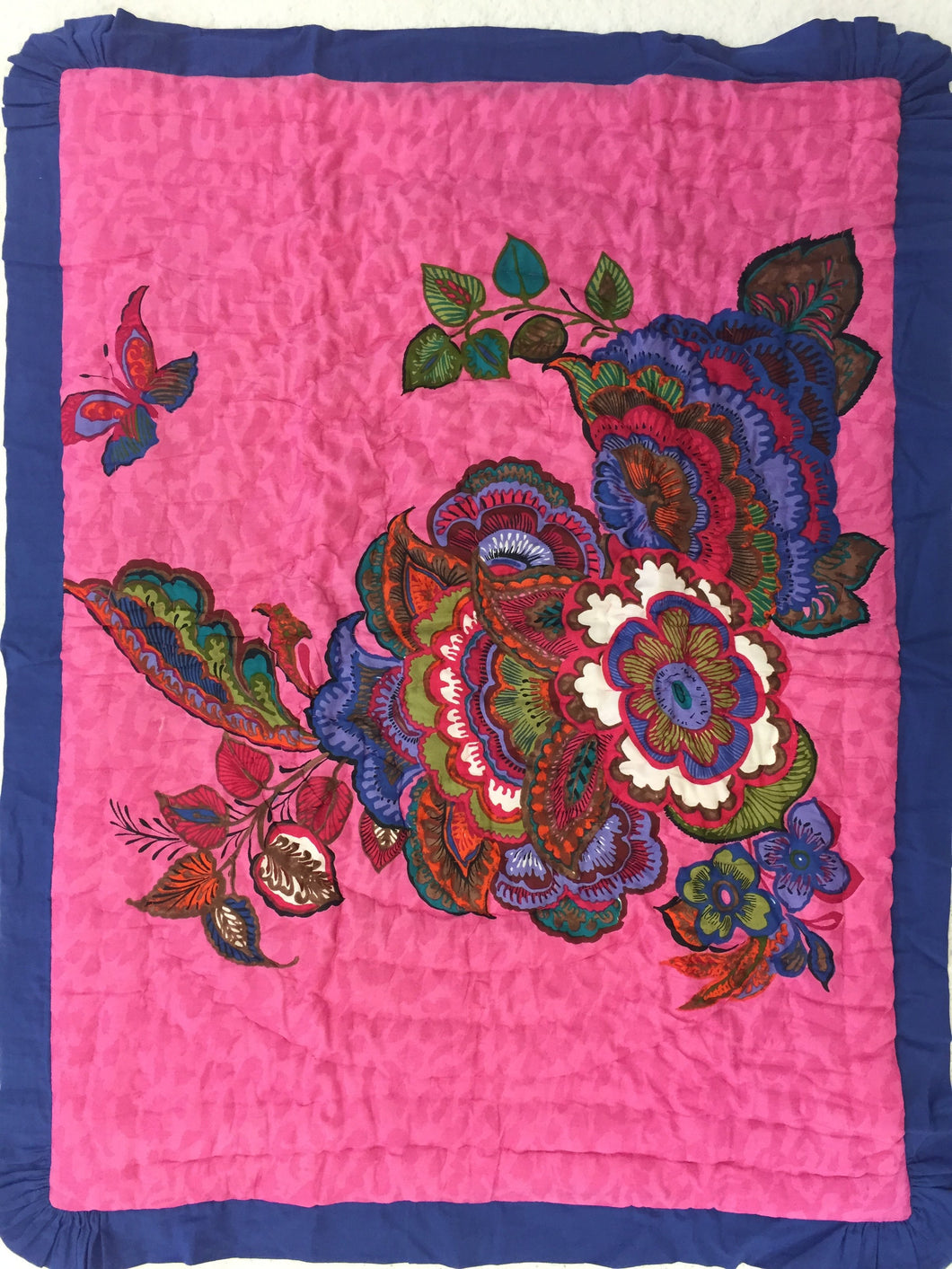 Fuchsia Floral and Butterfly Print Blanket with Blue Trim - Kids Wholesale Boutique Clothing, Blanket - Girls Dresses, Yo Baby Wholesale - Yo Baby