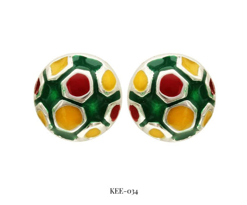 Multi-Colour Soccer Ball Earrings