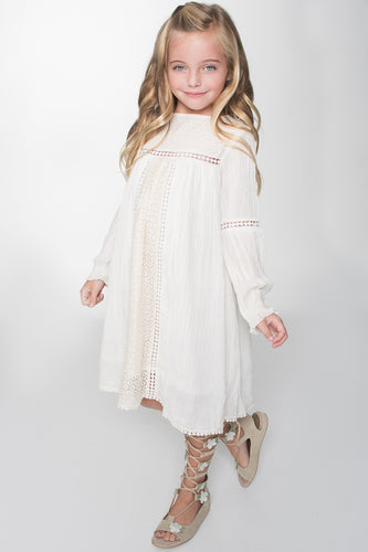 Off White Lace Detail Dress - Kids Wholesale Boutique Clothing, Dress - Girls Dresses, Yo Baby Wholesale - Yo Baby