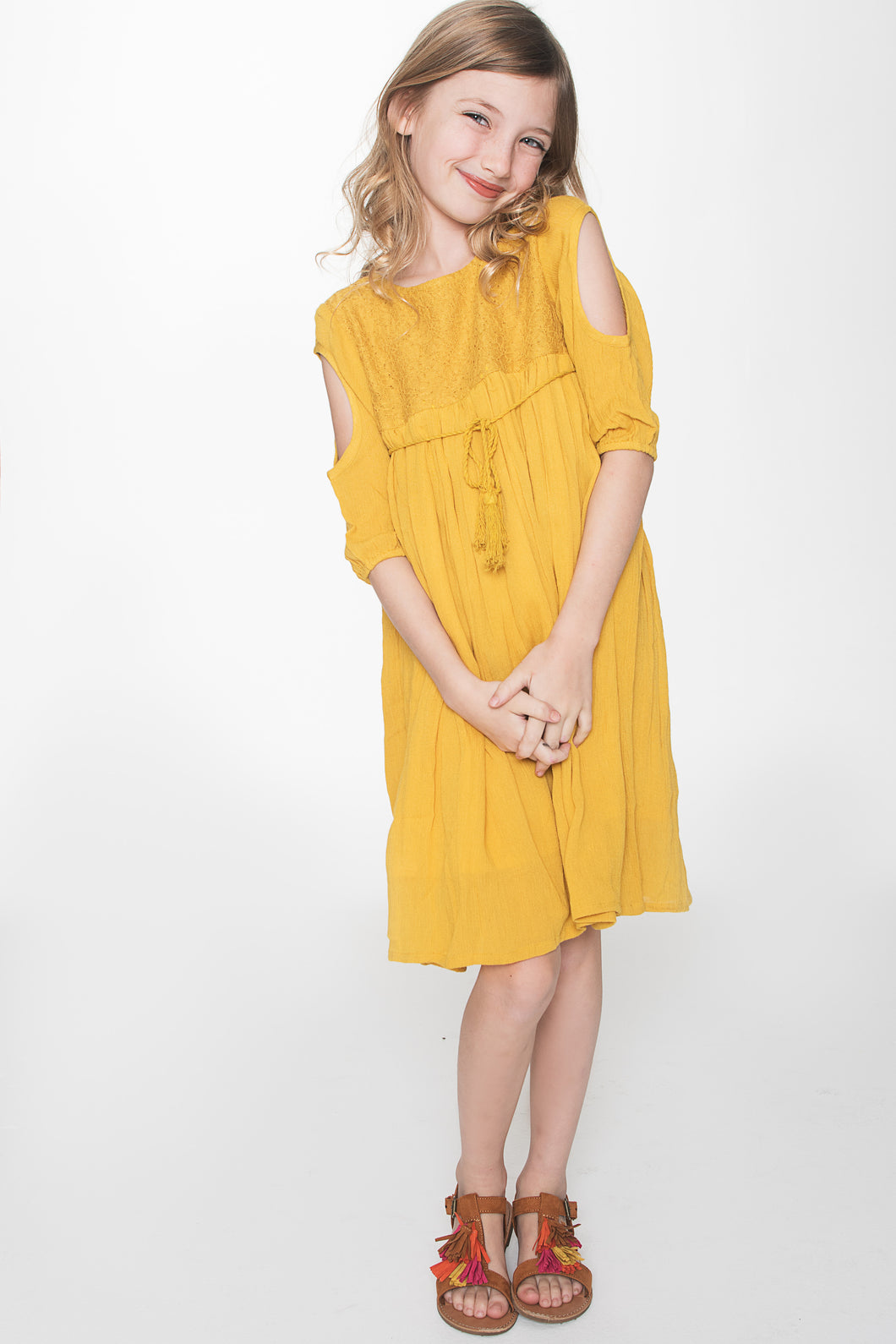Mustard Yellow Lace Detail Cold Shoulder Dress - Kids Wholesale Boutique Clothing, Dress - Girls Dresses, Yo Baby Wholesale - Yo Baby