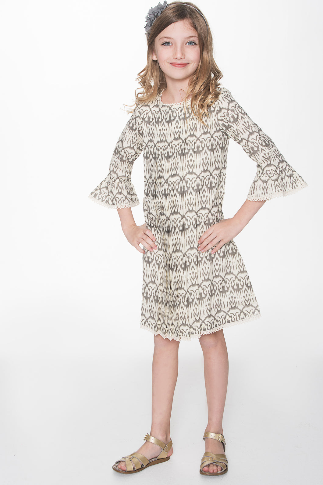 Grey and Off-white Ikat Box Pleat Lace Detail Dress - Kids Wholesale Boutique Clothing, Dress - Girls Dresses, Yo Baby Wholesale - Yo Baby