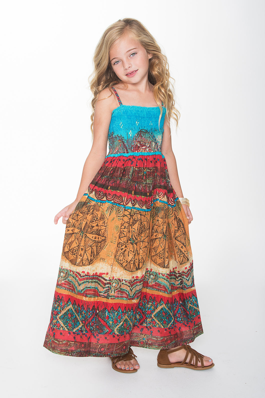 Blue Red and Orange Maxi Dress - Kids Wholesale Boutique Clothing, Dress - Girls Dresses, Yo Baby Wholesale - Yo Baby