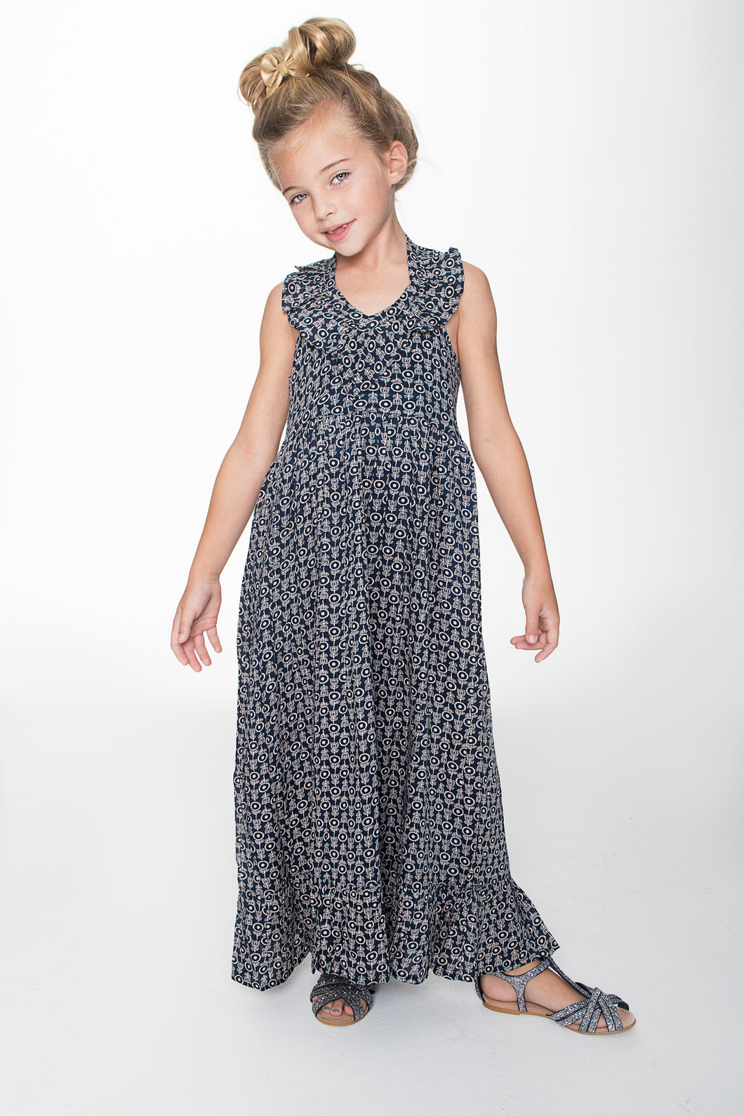 Navy Halter Maxi Dress - Kids Wholesale Boutique Clothing, Dress - Girls Dresses, Yo Baby Wholesale - Yo Baby