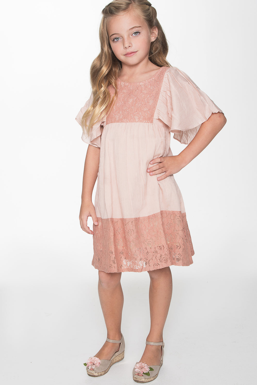 Blush Flounce Sleeve and Lace Dress - Kids Wholesale Boutique Clothing, Dress - Girls Dresses, Yo Baby Wholesale - Yo Baby