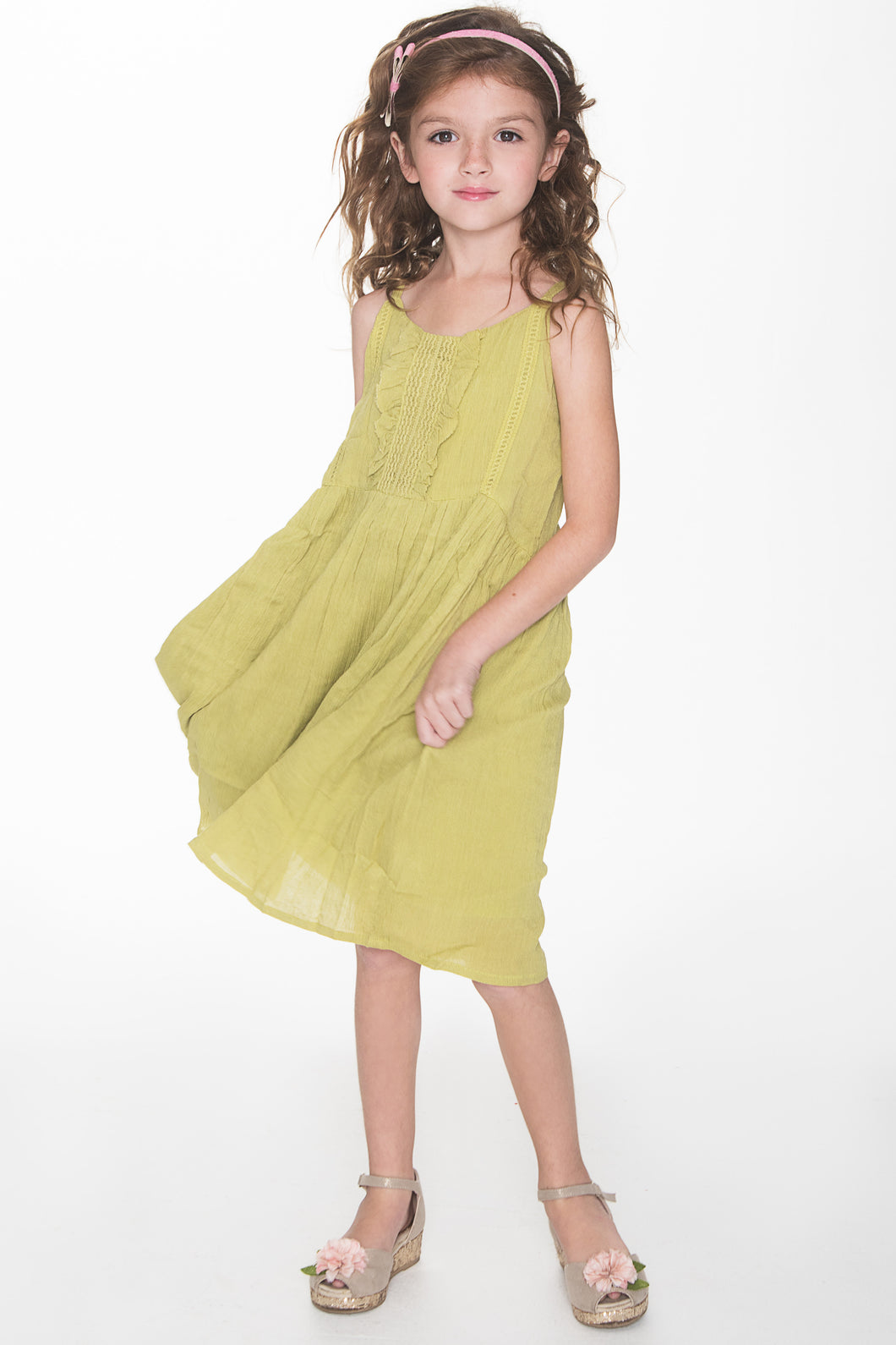 Green Swing Dress - Kids Wholesale Boutique Clothing, Dress - Girls Dresses, Yo Baby Wholesale - Yo Baby