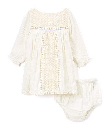 Off White Lace Detail Infant Dress - Kids Wholesale Boutique Clothing, Dress - Girls Dresses, Yo Baby Wholesale - Yo Baby