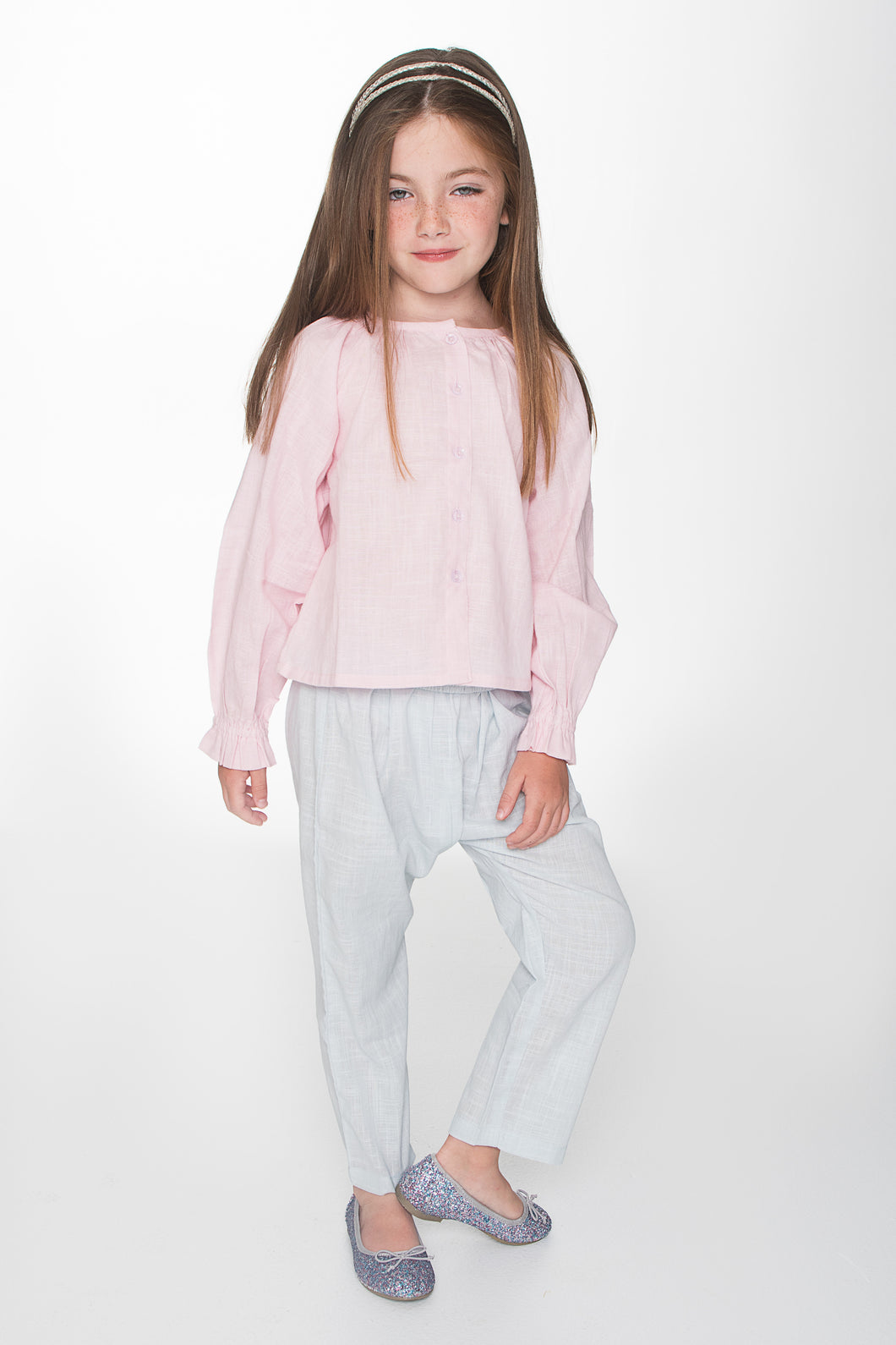 Pink Button Up Blouse with Light Blue Easy Pants 2pc. Set - Kids Wholesale Boutique Clothing, Dress - Girls Dresses, Yo Baby Wholesale - Yo Baby