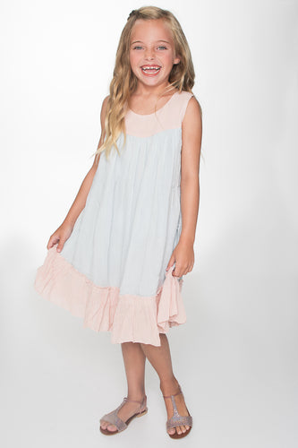 Pink and Blue Swing Dress - Kids Wholesale Boutique Clothing, Dress - Girls Dresses, Yo Baby Wholesale - Yo Baby