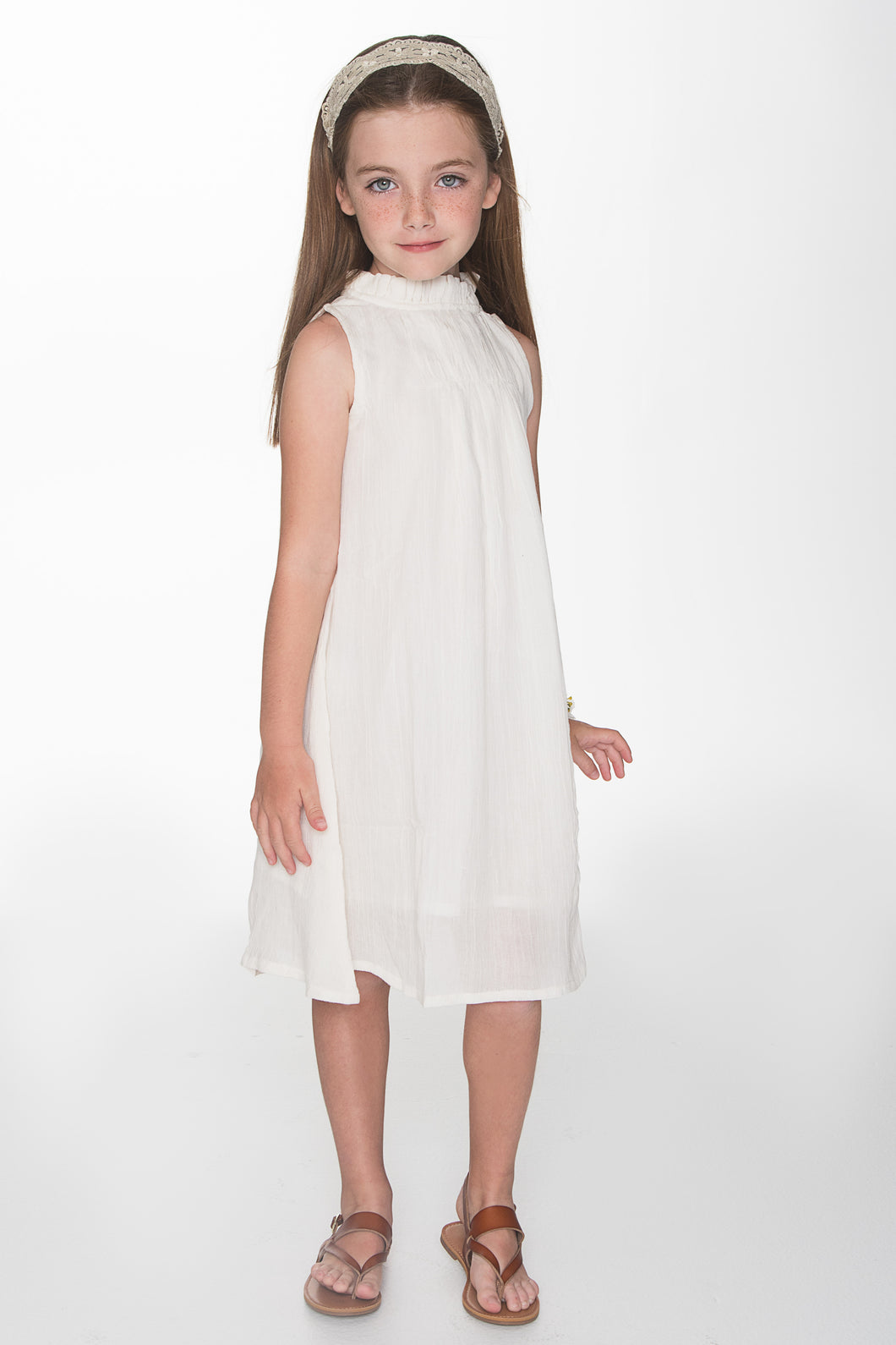 Off White Ruched Detail Shift Dress - Kids Wholesale Boutique Clothing, Dress - Girls Dresses, Yo Baby Wholesale - Yo Baby
