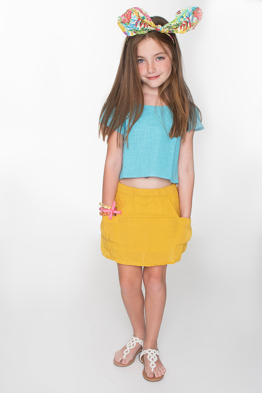 Yellow Blue Skirt and Crop Top 2pc. Set - Kids Wholesale Boutique Clothing, Dress - Girls Dresses, Yo Baby Wholesale - Yo Baby