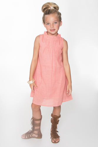 Peach Ruched Shift Dress - Kids Wholesale Boutique Clothing, Dress - Girls Dresses, Yo Baby Wholesale - Yo Baby