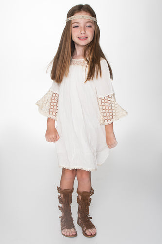 Off-White TARA lace Detail Swing Dress - Kids Wholesale Boutique Clothing, Dress - Girls Dresses, Yo Baby Wholesale - Yo Baby