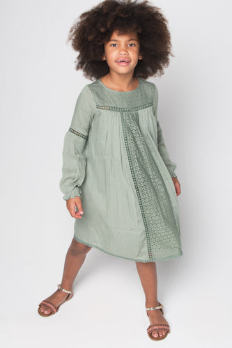 Sage Green Lace Detail Dress - Kids Wholesale Boutique Clothing, Dress - Girls Dresses, Yo Baby Wholesale - Yo Baby