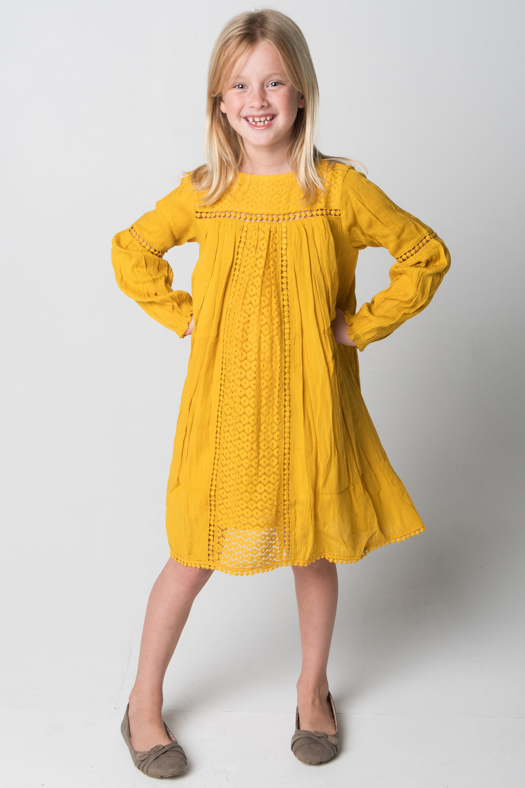Yellow Lace Detail Dress - Kids Wholesale Boutique Clothing, Dress - Girls Dresses, Yo Baby Wholesale - Yo Baby