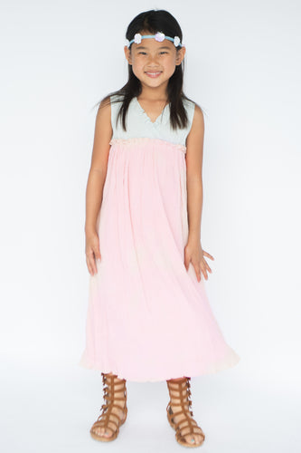 Pastel Blush & Blue Maxi Dress - Kids Wholesale Boutique Clothing, Dress - Girls Dresses, Yo Baby Wholesale - Yo Baby
