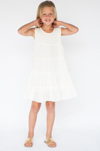 Tiered White Shift Dress - Kids Wholesale Boutique Clothing, Dress - Girls Dresses, Yo Baby Wholesale - Yo Baby