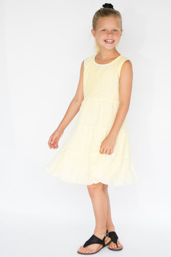 Pastel Yellow Net Detail Dress - Kids Wholesale Boutique Clothing, Dress - Girls Dresses, Yo Baby Wholesale - Yo Baby